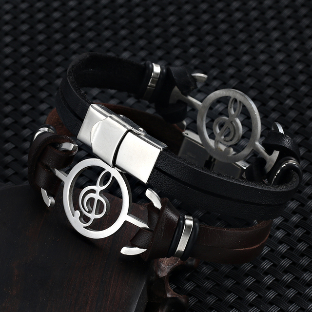 2018 hot liujun Retro Fashion Men's Bracelet Music Notes Stainless Steel Leather Bracelet For Men jewelry pulseira masculina	 5