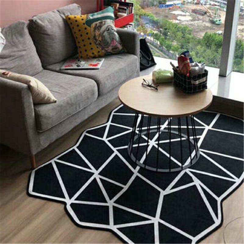 Необычная форма черно белая серия ковры геометрической формы для гостиной, спальни, большие ковры, Скандинавское исследование, обеденный Коврик для пола