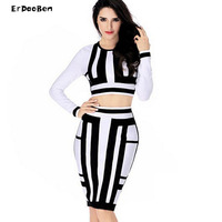 High Quality 2 Pieces Set Dress Women Bandage Dresses Black And White Color Elastic Imported Party