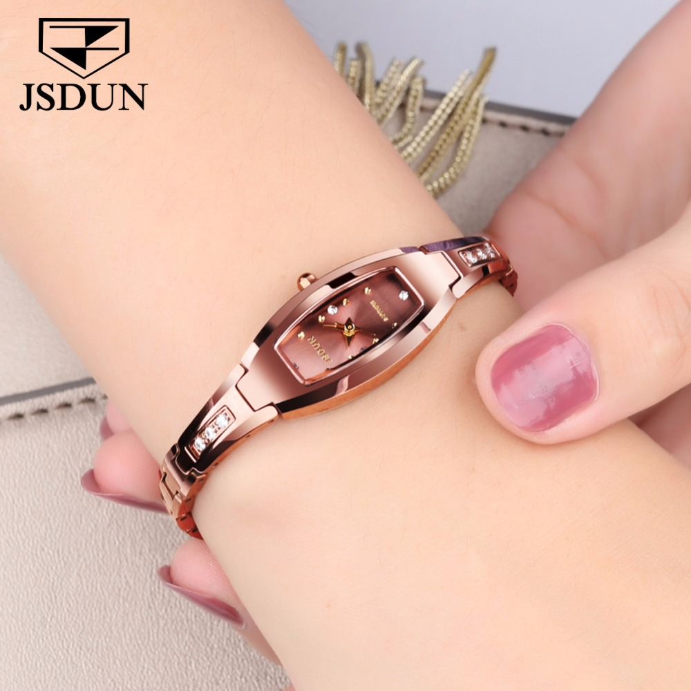 JSDUN Luxury Ladies watch women Rose gold Tungsten steel bracelet Rhinestone Small dial Dress montre femme relogio feminino saat