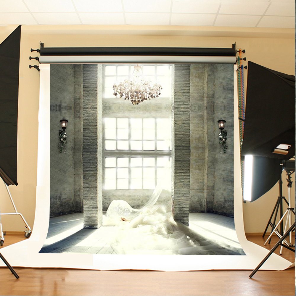 Wedding Photography Background Sunny Windows Photo Booth Backdrops Stone Brick Wall Chandelier Backgrounds for Photo Studio 200cm 150cm backgrounds brick floor booth walls photography backdrops photo lk 1581
