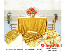 Shinny Gold tablecloth 90x132in Glitter Round Rectangular Embroidered Sequin Table cover for Wedding Party Christmas Decor-9525