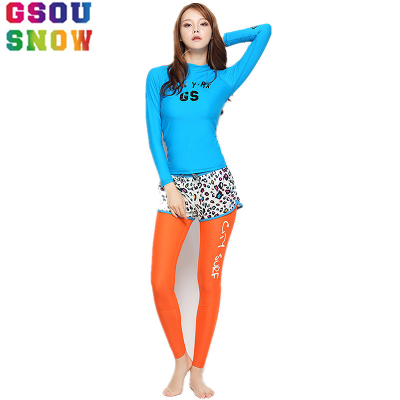 Gsou Snow Brand Women Scuba Diving Wetsuit Long Sleeve There Pieces Surfing Swimwear Quick Dry Snorkeling Spearfishing Swimsuits gsou snow brand 2017 men beach shorts quick dry summer board shorts swimming surfing diving motorboat shorts maillot de bain