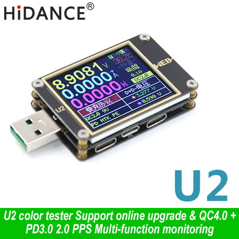 WEB U2 USB Color Tester Current Voltmeter QC4+ PD3.0 2 PPS quick Charging Protocol Capacity DC meter 1.77 inch HD diplay