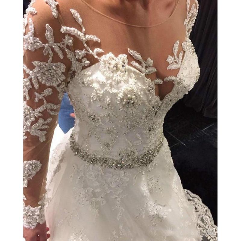 Vestido de Noiva Luxury Beading Wedding Dresses Sheer Nude Tulle Long Sleeve Plus Size Boho Wedding