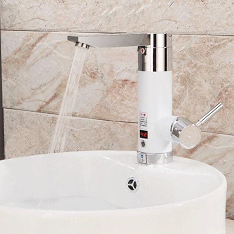 Kitchen Hot Heating Electric Tankless Continuous Instantaneous Faucet For Bathroom Hotel Sink Wash Basin Mixer With Asia Plug