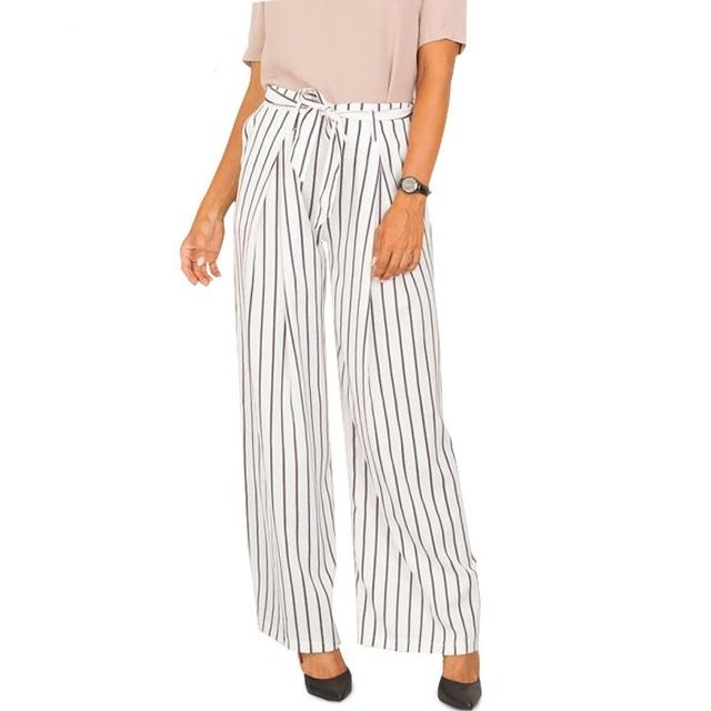 2017 Mulheres Listradas Calças de Pernas Largas Calças Com Cordão De Cintura Alta Calças Casuais Pantalones Mujer Pantalon femme Estilo Euro WG124