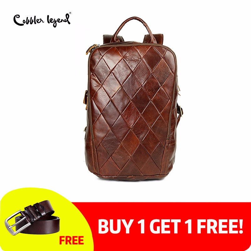 Cobbler Legend 2018 Новый Винтаж коричневый из натуральной яловой кожи для мужчин's рюкзаки компьютер сумка для мужчин бизнес дорожные сумки