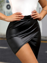 2020 Summer Women Sexy Black Solid Asymmetrical Skirts Ladies Club Party High Waist Surplice Wrap PU Slinky Skirt asymmetrical surplice wrap velvet cami dress