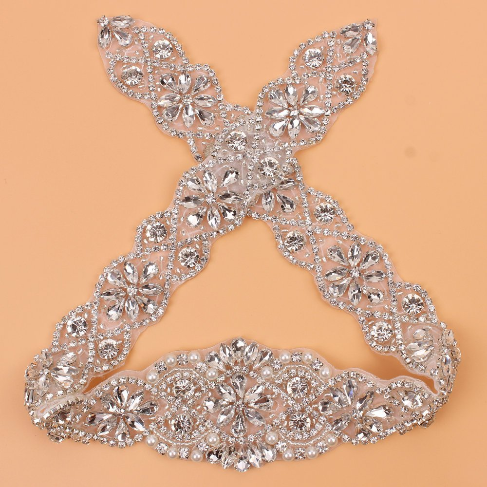 (1piece)Handmade Bling Sew On Hot Fix Beaded Crystal Silver Rhinestone  Applique for Wedding 2c2d30b18862