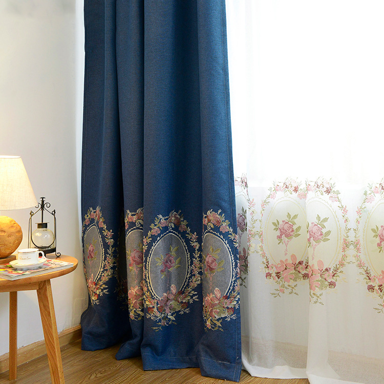 Villa upscale curtains (shading performance 70% -90%)carved Jacquard Luxury Living Room Curtains Room Divider Factory Direct