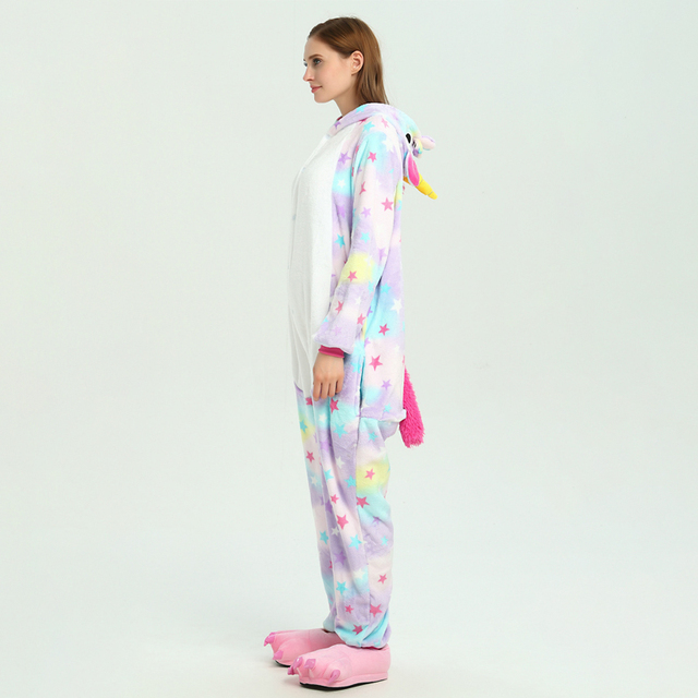 Stars Unicorn Onesie Adult Women Girl Animal Cartoon Pajama Rainbow Soft Warm Pijama Outfit Kugurumi Carnival Party Costume Suit