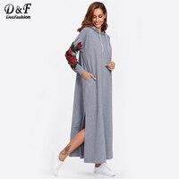 Dotfashion Split Side Applique Hooded Dress Fall 2017 Fashion Woman Long Sleeve Grey Embroidery Shift Drawstring