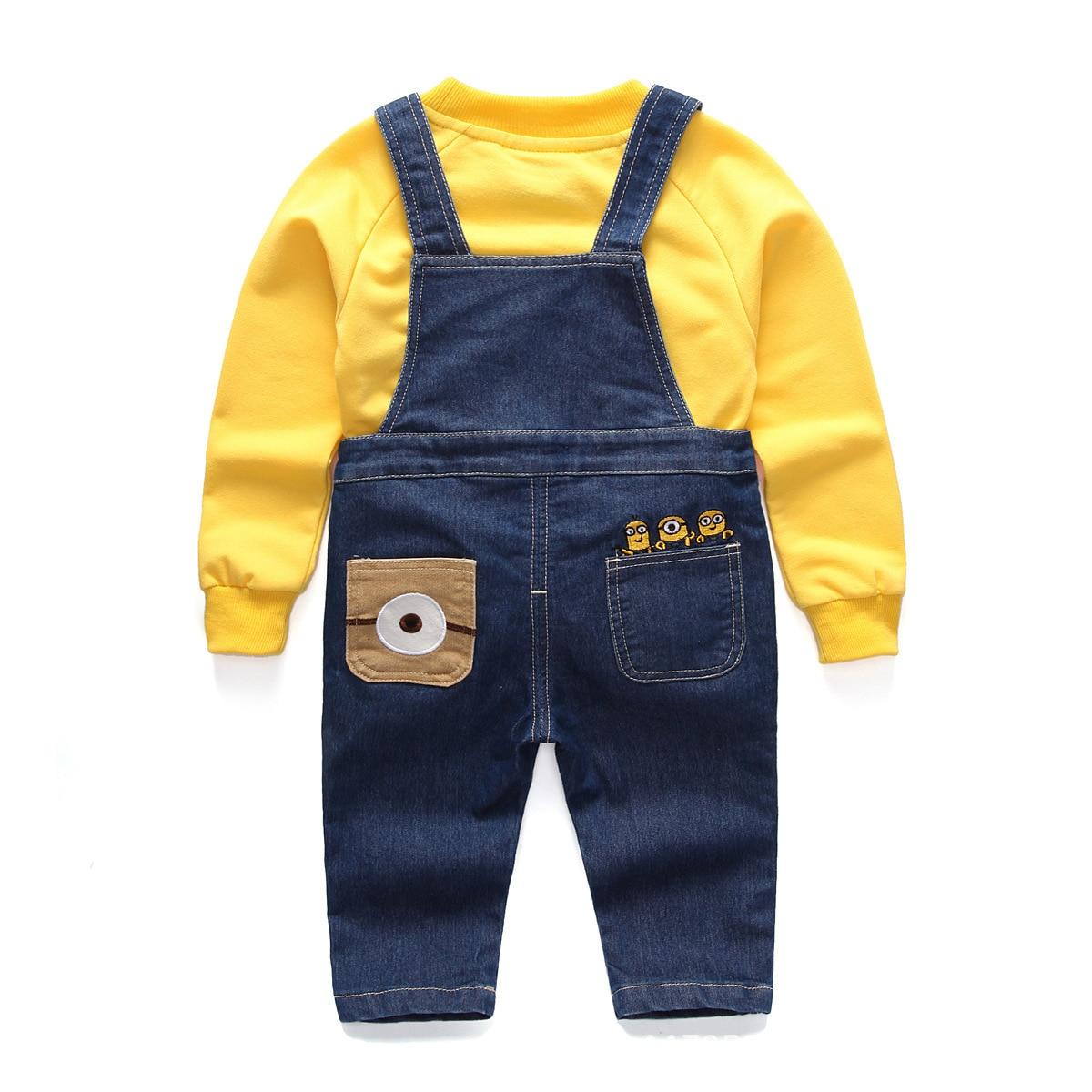Denim Jumper Cotton Jumpsuit for Kids Despicable Me Minion Salopette Denim Kids Playsuit Baby Boy Overalls Macacao Infantil
