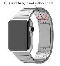 Роскошные нержавеющей Металлический ремешок & Ссылка Браслет Из Нержавеющей Стали группа для apple watch 42 мм Ремешок Для Часов, отрегулируйте вручную, нет инструмента