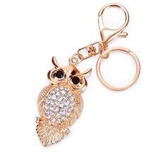 Fashion Cute Owl Luxury Keychain Key Chain Ring Holder Gift Wome Bag Pendant Car M8694