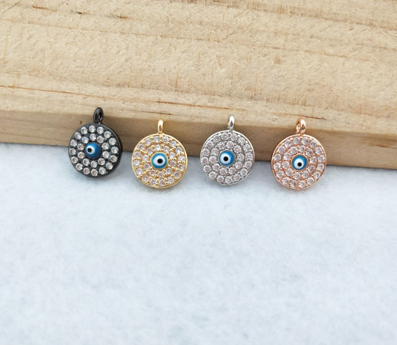 10 Pieces  Tiny CZ crystal Charm,CZ zircon Stone Micro pave Turkish Style round eyes Pendant Jewelry Finding DIY necklace PD853