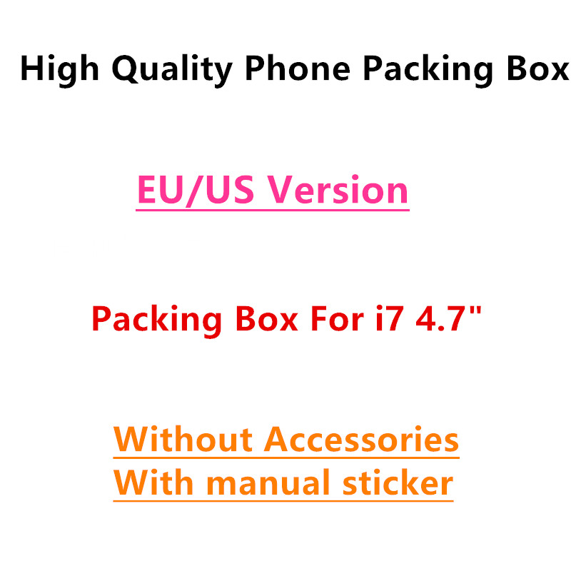 50pcs lot High Quality US EU Version Phone Packaging Packing Box Case for iPhone 7 4