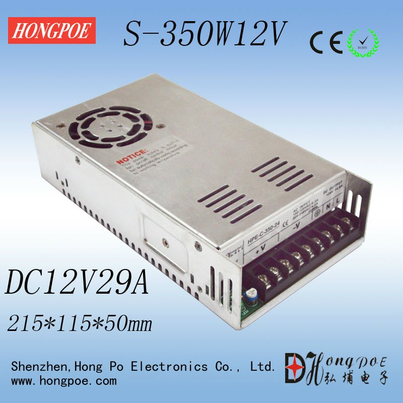 350W 12V 29A S-350-12 AC/DC Switching Standard LED/3d printer Power Supply CE RoHS FCC authentication Free Shipping 20pcs 350w 12v 29a power supply 12v 29a 350w ac dc 100 240v s 350 12 dc12v