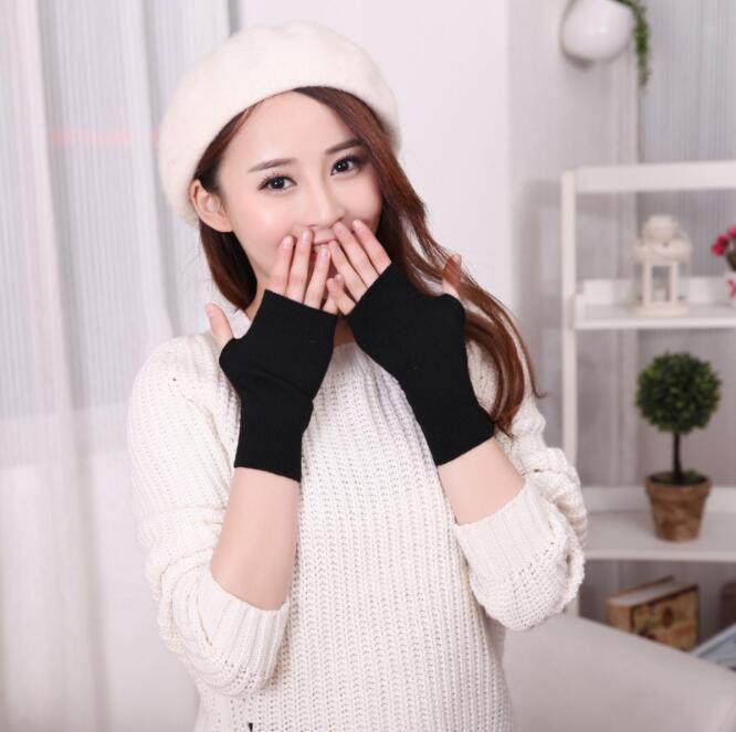 1 Pair Sheep Wool Mitt Exposed Finger Women's Gloves Winter Autumn Knitted For Women Fingerless Gloves Wrist Mittens