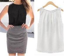 Sleeveless Chiffon Blouse Shirt Summer Crinkle O-Neck Women Blouse Casual Tank Tops Blusa Feminina Fashion Ladies Tops Shirts
