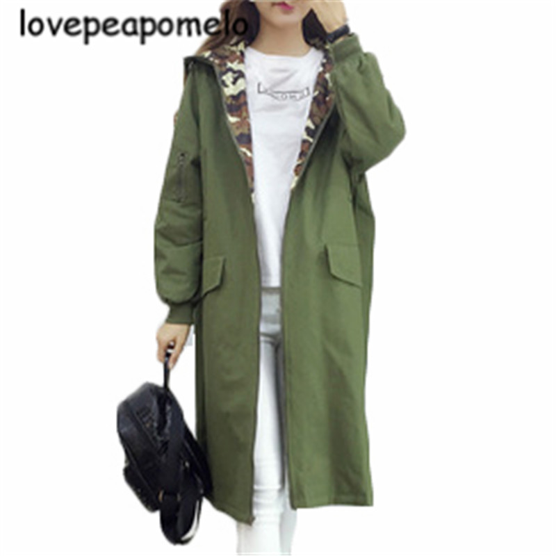 Women's Windbreaker 2020 Spring And Autumn Military Camouflage Overcoats Lage Size Hoodies Fashion Loose Female Print Coat J395