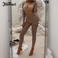 JillPeri New Women Long Sleeve Chest Open Bling Crystal Bodycon Stretch Bodysuit Night Club Wear Party Kylie Solid Sexy Jumpsuit