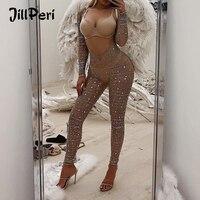 JillPeri New Women Long Sleeve Chest Open Bling Crystal Bodycon Stretch Bodysuit Night Club Wear Party Kylie Solid Sexy Jumpsuit