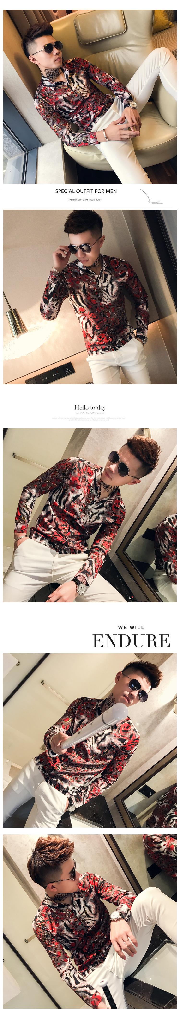 Bronzing Shirts Mens Social Club Outfits Slim Fit Fashion Men Shirts 2019 Korea Mens Casual Clothing Floral Printed Shirts 9