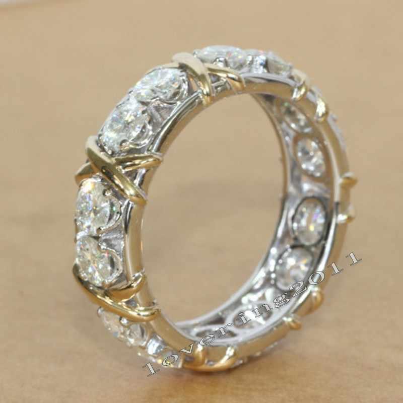 Choucong Eternity เครื่องประดับหิน 5A Zircon หิน 10KT สีขาวและทองคำขาวผู้หญิงแหวนหมั้นแหวน SZ 5 -11