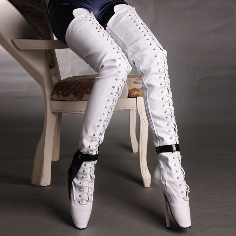 c64d2af8593b 7 Inch High Heel Thigh High Boots Ballet Heels Black White Sexy Fetish  Booties For