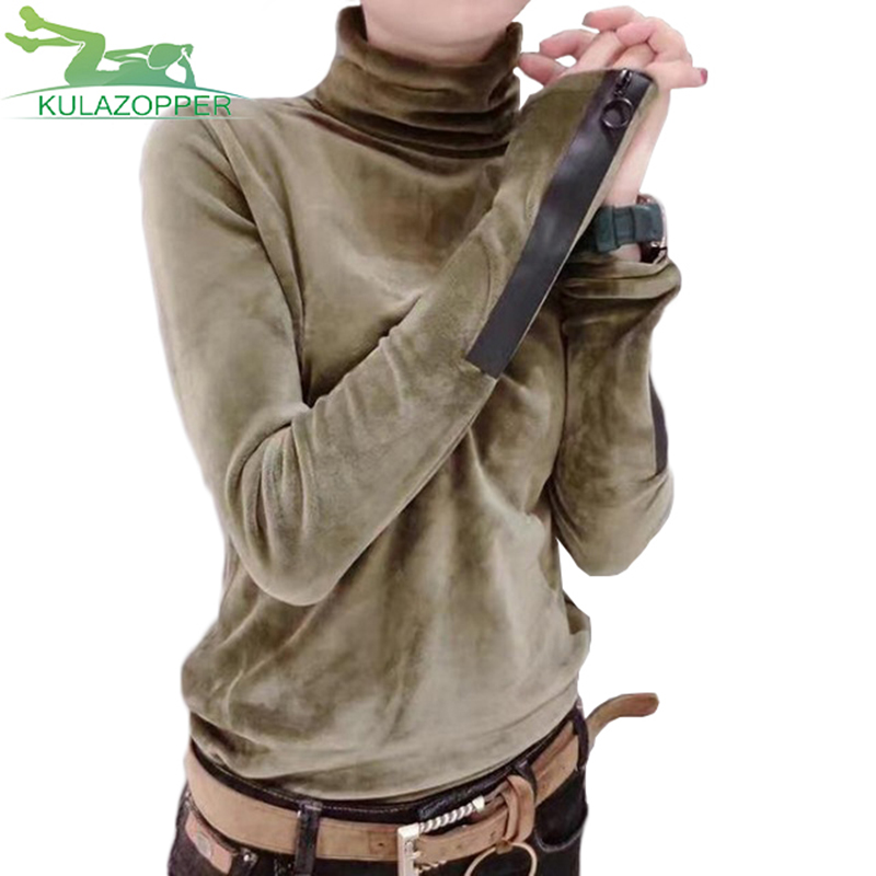 2018 frau Solide Baumwolle Pullover New Fashion Frühling Korean Langarm Pullover Halben Rollkragen Kurz Samt Pullover YL253