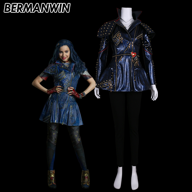 Us 182 0 Bermanwin High Quality Descendants Maleficent Evil Queen Evie Costume Only Blue Jacket Halloween Cosplay Costume For Adult In Movie Tv