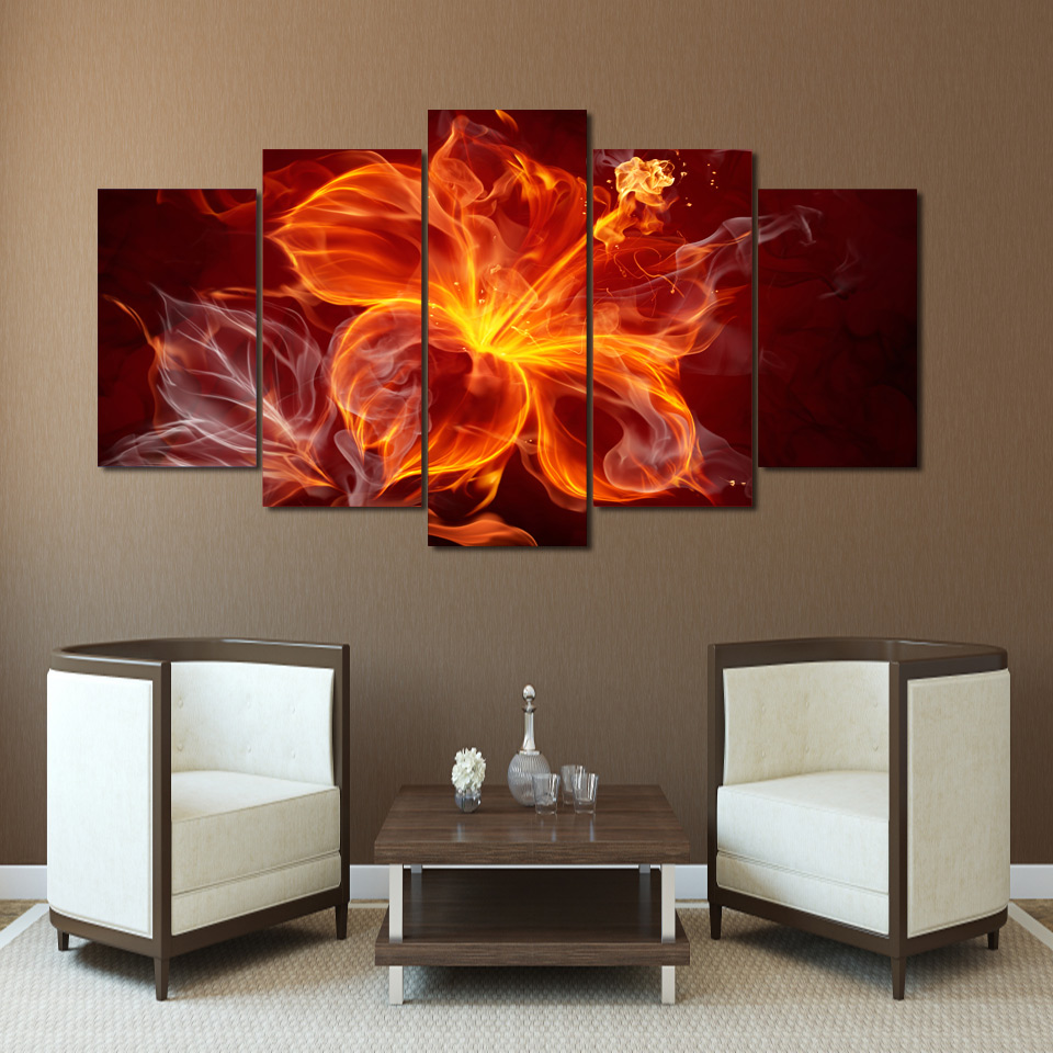 hanging canvas art promotion shop for promotional hanging canvas 2017 new abstract 5 pieces fire flower group painting wall hanging canvas art print for home or bedroom decoration free shipping