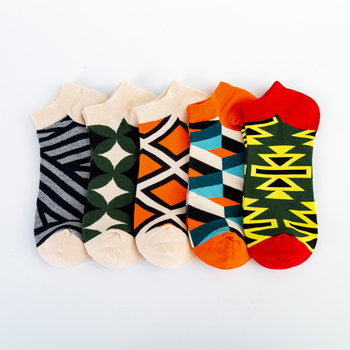 Jhouson High Quality Men's Casual Novelty Socks New 2019 Summer Ankle Socks Combed Cotton Plaid Striped Dress Boat Socks 1