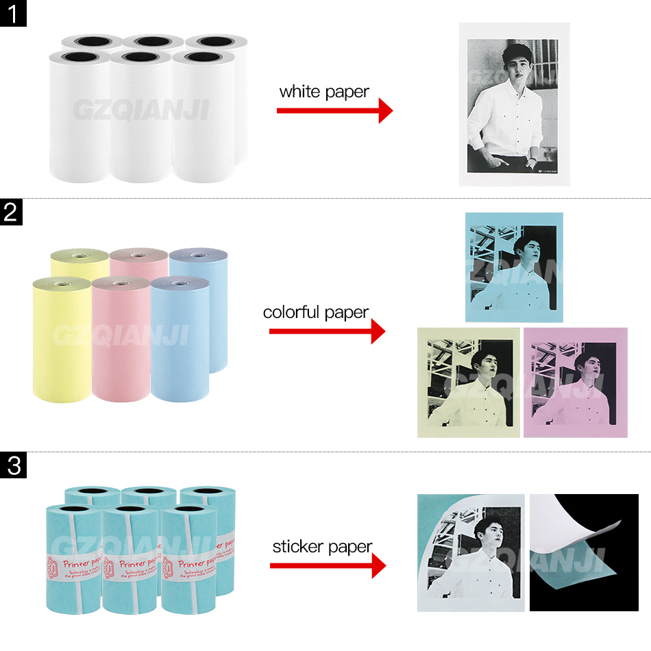 58*30mm White Color Thermal Paper Label Sticker For 203 304 Dpi Peripage Photo Mini Pocket Bluetooth Printer For Android IOS