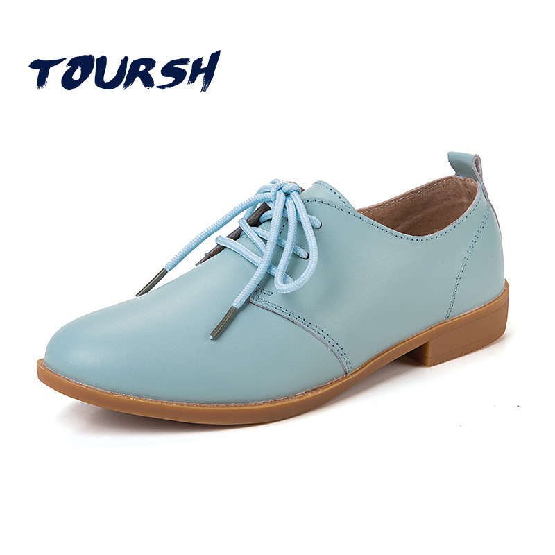 TOURSH New Genuine Leather Women Oxford Shoes Lace Up Casual Pointed Toe Flat Non Slip Office Lady Soft Fashion Moccasins Shoes front lace up casual ankle boots autumn vintage brown new booties flat genuine leather suede shoes round toe fall female fashion