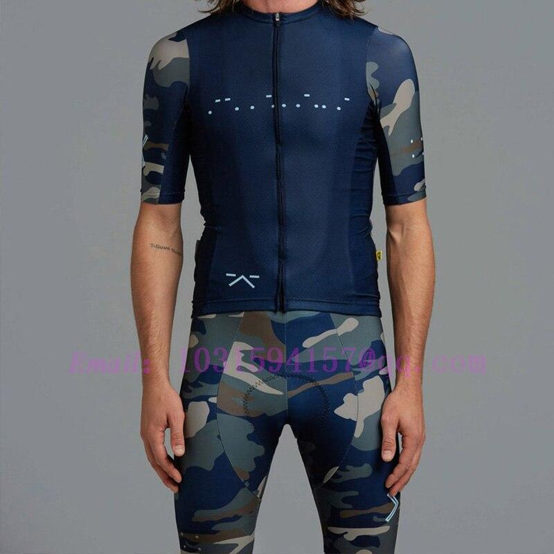 2020 bleu ensemble de vêtements de cyclisme manches courtes maillot et cuissard à bretelles Kit été hommes vélo vêtements vtt Ropa Ciclismo Mailot hombre