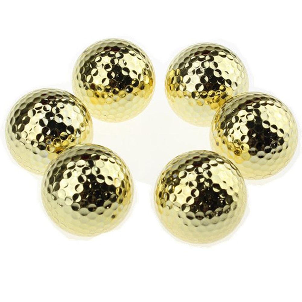 CRESTGOLF 6PCS Two Layer Golden Golf Balls Golf Practice Balls Training Two Pieces Balls As Gift