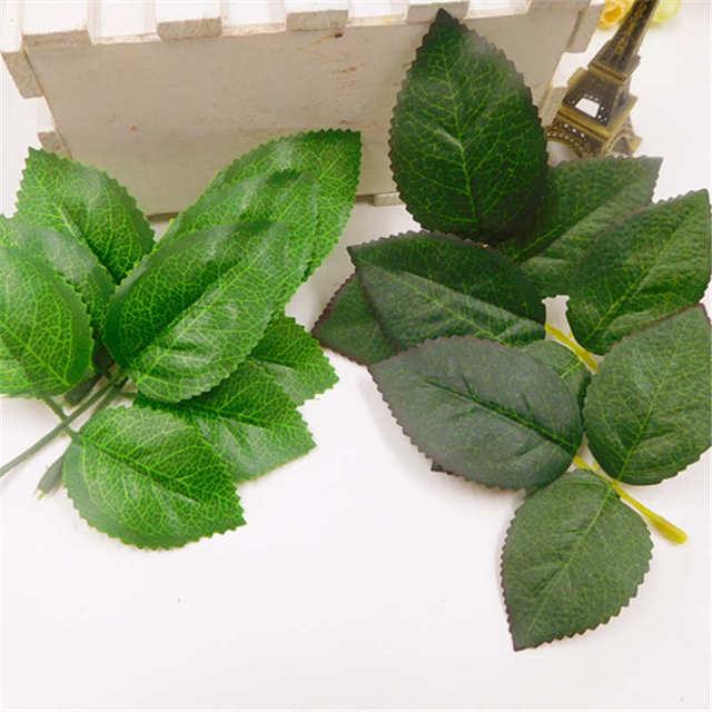 10 PCS cheap artificial silk green leaf flower piece wedding home decoration DIY wreath gift box clip art simulation flower