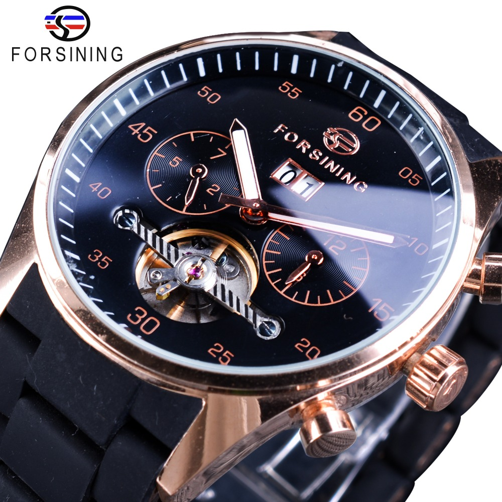 Forsining Luxury Brand PILOT Design Calendar Display Silicone Stainless Steel Band Fashion Military Top Men Automatic WristwatchForsining Luxury Brand PILOT Design Calendar Display Silicone Stainless Steel Band Fashion Military Top Men Automatic Wristwatch