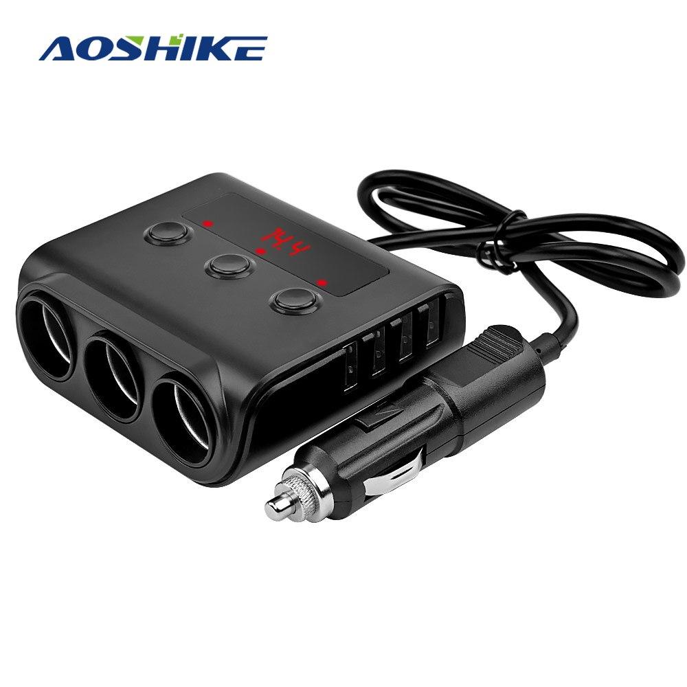 AOSHIKE 3 Way Car Cigarette Lighter Adapter 12V-24V Socket Splitter Plug LED 4 USB Charger Adapter 2.4A 100W For Phone MP3 DVR