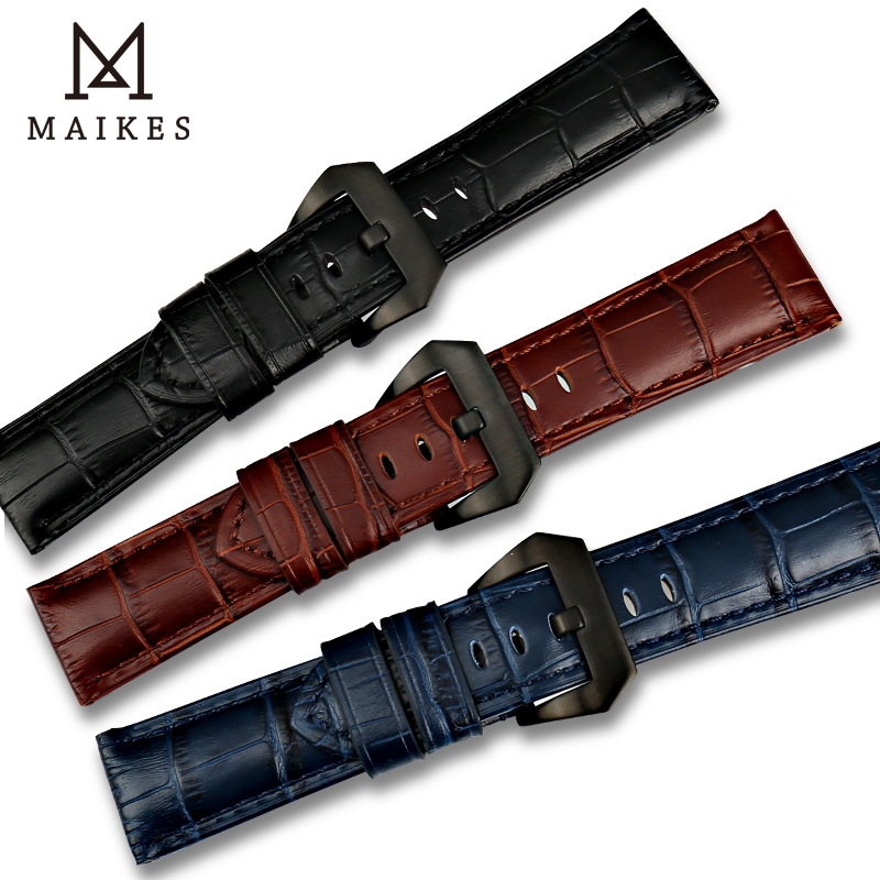 MAIKES New design 22mm 24mm 26mm watch accessories watchbands genuine leather watch band strap for Panerai watch bracelet belt maikes 18mm 20mm 22mm watch belt accessories watchbands black genuine leather band watch strap watches bracelet for longines