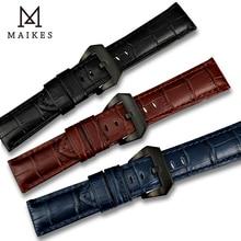 MAIKES New design 22mm 24mm 26mm watch accessories watchbands genuine leather watch band strap for Panerai watch bracelet belt цена