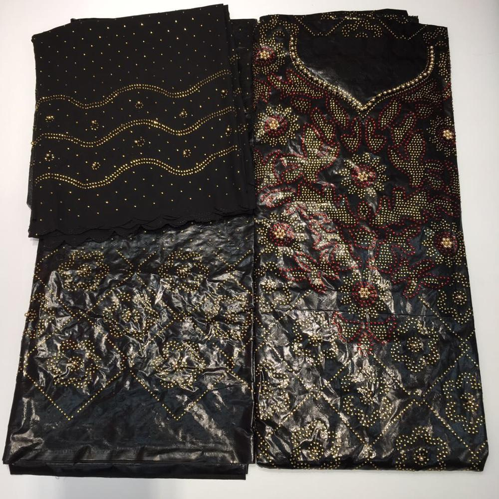 2019 latest bazin riche getzner high quality nigerian basin jacquard embroidery with stones lace fabrics 5