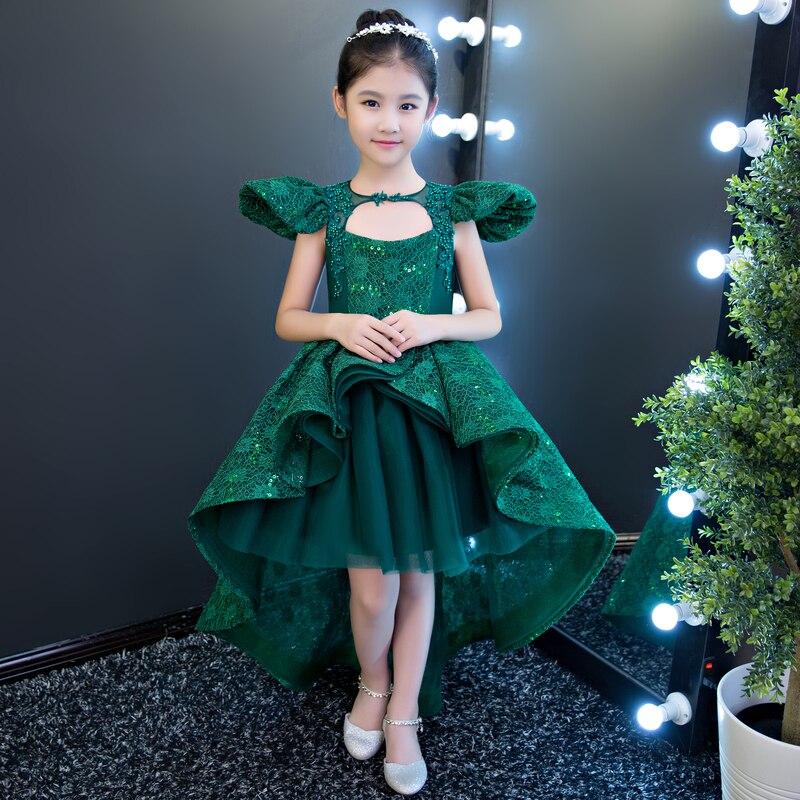 До колена Длина для девочек в цветочек платья кружева рукавов бальное платье детское платье для свадебного торжества принцессы торжествен