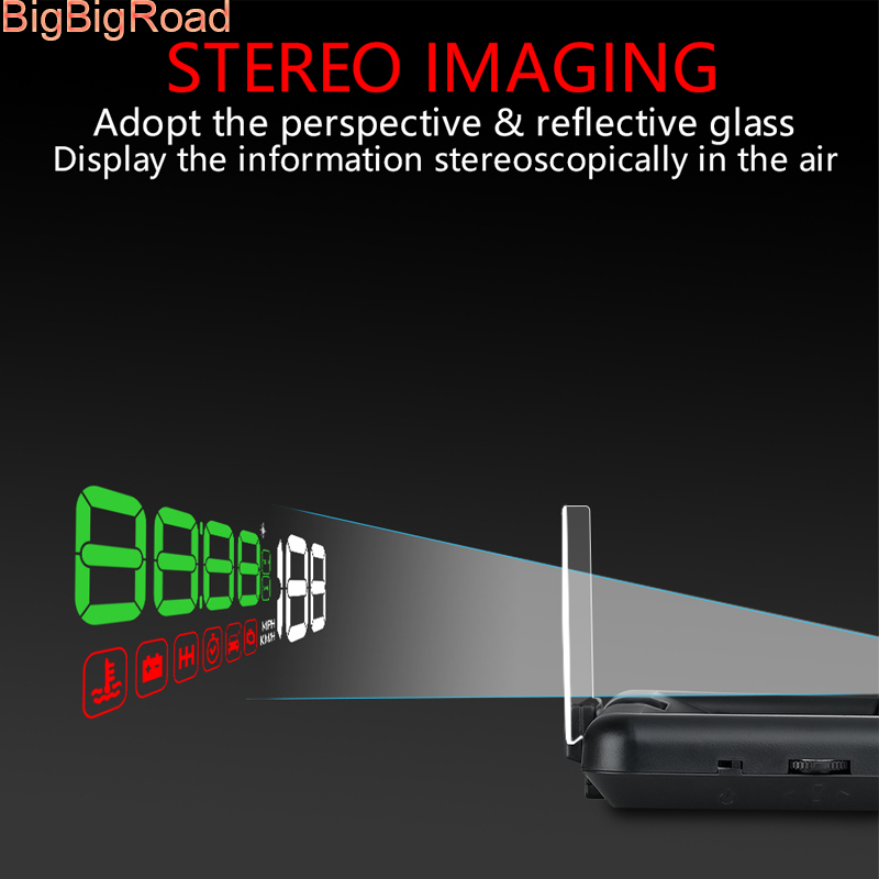 BigBigRoad Car Windscreen Projector On-Board Computer HUD Head Up Display OBD 2 EUOBD For Jaguar F-Type XE XF XJ S-Type f-pace bigbigroad car hud obd 2 euobd windscreen projector speed head up display for kia niro mohave borrego k9 k900 kx3 k7 kx7 cadenza