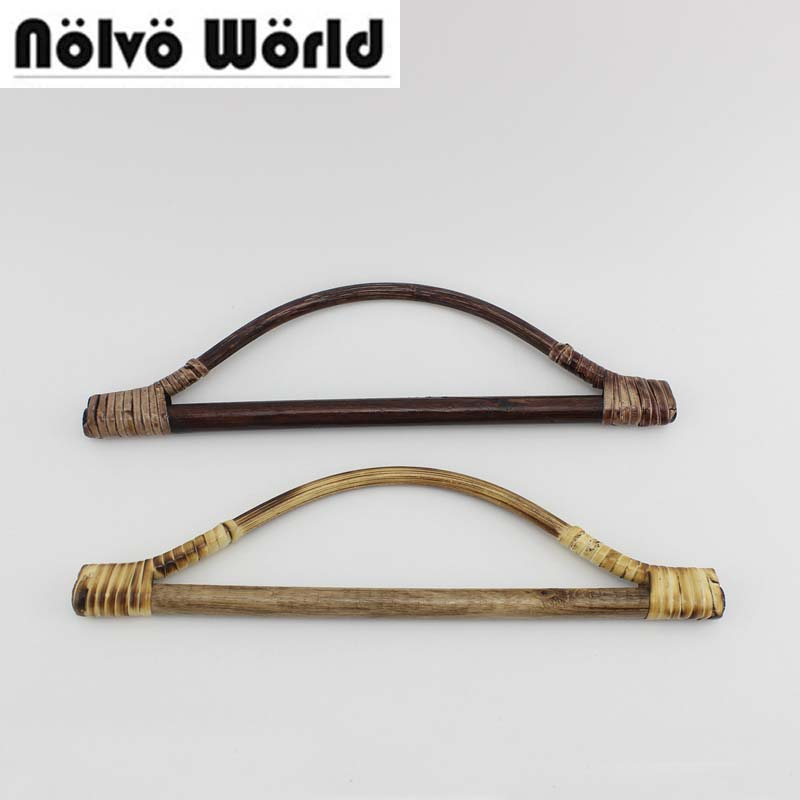 1 Pair=2 Pieces,27X8cm Triangle Shaped Woven Rattan Handle For Bags Purse,Retro Charcoal Rattan For Handmade Leather Working