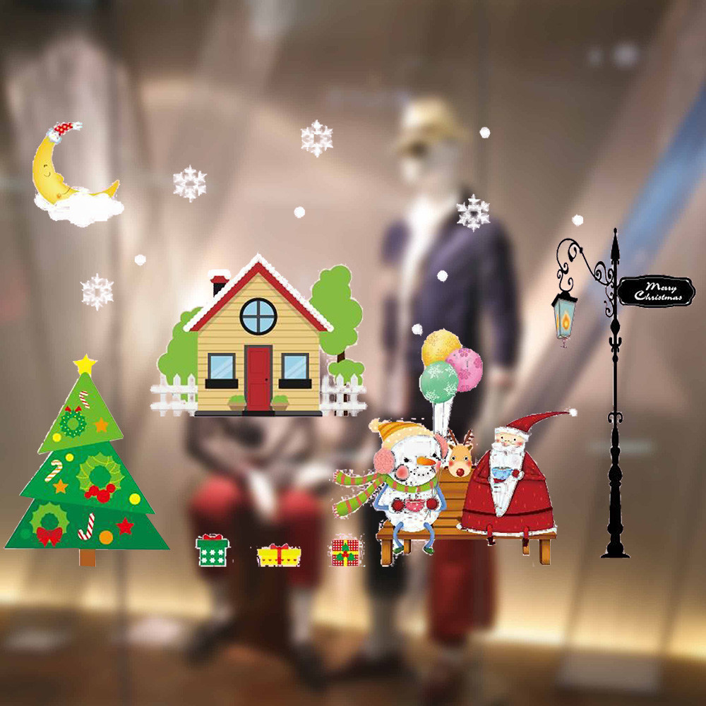 2018 Merry Christmas Cartoon Scenery Window Stickers Static Electricity Removable Home Room