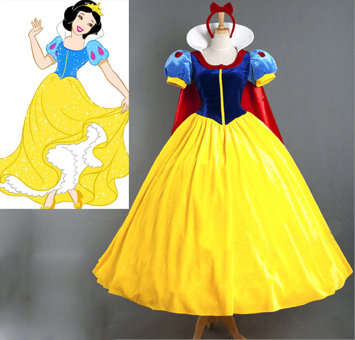 NOWCOS Adult Women Girl Deluxe Snow White Costume Fairytale Snow Princess Cosplay Fancy Dress Halloween Party Gown